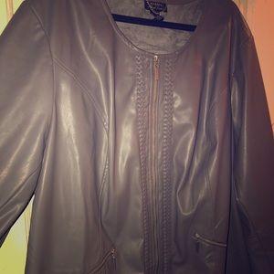 Grey Faux Leather Jacket Catherine's